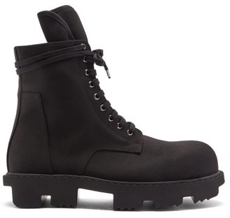 Rick Owens Bozo Megatooth Lace-up Canvas Boots - Black