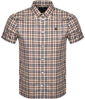 Aquascutum London Tartan Short Sleeve Shirt Brown