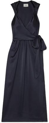 Nanushka Shanti Knotted Satin Midi Wrap Dress
