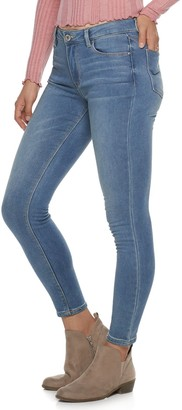 Almost Famous Juniors' Mid-Rise Fleece-Lined Skinny Jeans