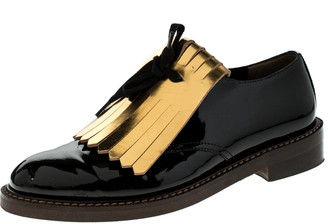 Marni Black/Gold Patent Leather Fringed Oxford Size 37