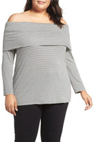 Three Dots Stripe Off the Shoulder Tee (Plus Size)