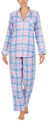 Lauren Ralph Lauren Petite Classic Woven Long Sleeve Notch Collar Long Pajama Set (Pink Plaid) Women's Pajama Sets