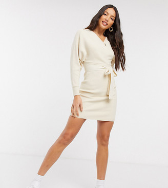 Outrageous Fortune Tall knitted wrap detail pencil dress with belt detail in cream