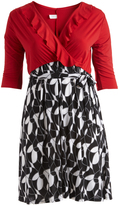 Glam Black & Red Abstract Ruffle-Accent Wrap Dress - Plus