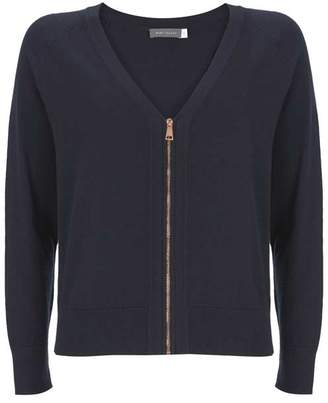 Mint Velvet Navy Zip Front Cardigan