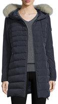 Peuterey Hooded Asymmetric-Zip Puffer Jacket, Navy
