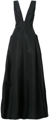 Carolina Herrera deep V-neck flared gown
