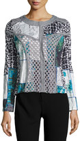 Alberto Makali Paneled Animal-Print Zip-Front Jacket, Gray/White