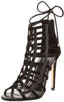 Lipsy Caged Lace Up Sandals In Black Size UK 7