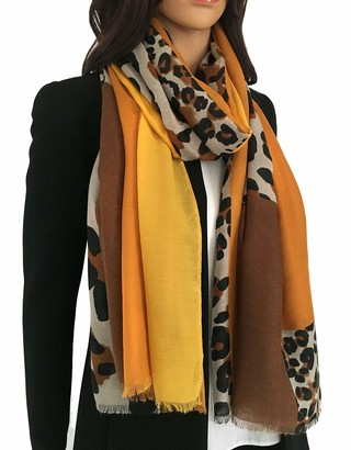 The Accessory Co. Women Leopard Print Blanket Scarf - Ladies Scarves Leopard Print Gifts Animal Pashmina Shawl Long Winter Wrap Wearable Blanket