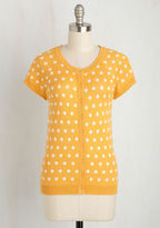 ModCloth Just Thought I'd Author Cardigan in Saffron Dots in M