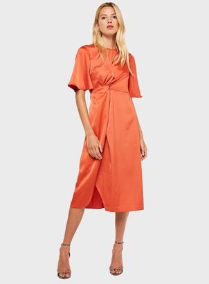Miss Selfridge Orange Satin Knot Midi Dress
