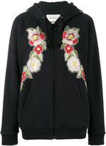 Gucci Print rose embroidered hoodie - women - Cotton - M