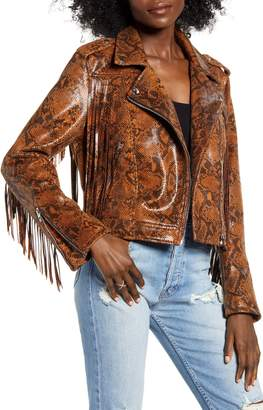 Blank NYC BLANKNYC Word of Mouth Snake Print Faux Leather Jacket