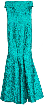 Carolina Herrera Green Jacquard Strapless Mermaid Gown S