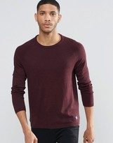 Pull&Bear Crew Neck Sweater In Burgundy