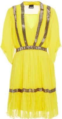 Just Cavalli Bead-embellished Gathered Chiffon Mini Dress