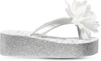 MonnaLisa Glittered Platform Sandals W/ Flower