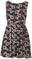 TENKI Floral Print Tie Back Skater Dress