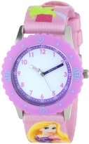Disney Kids' W000427 Rapunzel Stainless Steel Time Teacher Purple Bezel Printed Strap Watch