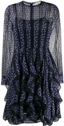 Fendi floral panelled ruffle dress