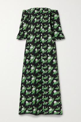 BERNADETTE Bobby Off-the-shoulder Floral-print Cotton-blend Poplin Dress - Black