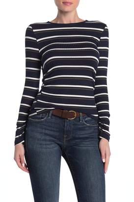 Frame Shirred Stripe Print Long Sleeve T-Shirt