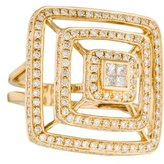 Ring 18K Diamond Stacked Square Cocktail