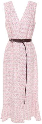 Victoria Beckham Belted Printed Cloque Midi Dress