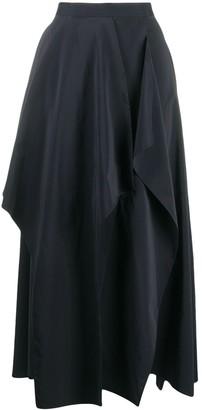 Enfold High-Waist Draped Midi Skirt