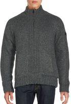 Buffalo David Bitton Rib Knit Zip-Up Sweater