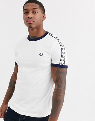 Fred Perry taped ringer t-shirt in white