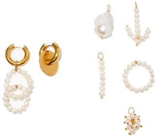 Timeless Pearly Mismatched 24kt Gold-plated Earrings And Charm Set - Pearl