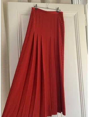 Alberta Ferretti Red Silk Skirt for Women