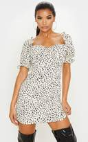 PrettyLittleThing Cream Leopard Print Ruched Cup Puff Sleeve Shift Dress