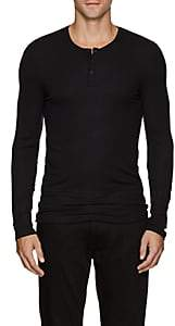 ATM Anthony Thomas Melillo MEN'S RIB-KNIT COTTON HENLEY - BLACK SIZE L