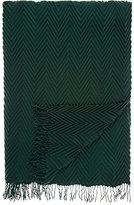 Barneys New York Chevron-Pleated Cashmere Throw-DARK GREEN