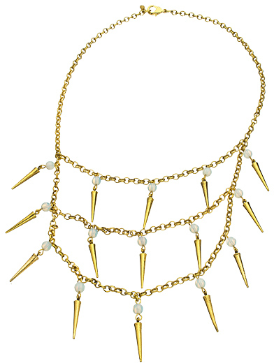 Yochi Layered Spike and Stone Bib Necklace