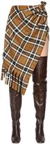 Jacquemus Asymmetric Plaid Wool Blend Mini Skirt