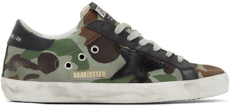 Golden Goose Green and Black Camo Canvas Superstar Sneakers