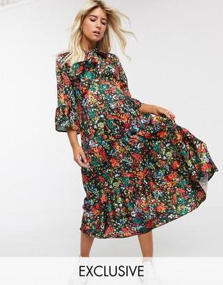 Twisted Wunder smock midi dress in floral print
