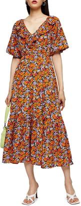 Topshop Ruffle Trim Floral Midi Dress