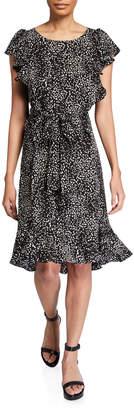 Max Studio Floral-Print Bubble-Crepe Midi Dress