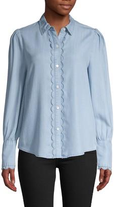 Frame Scalloped Long-Sleeve Shirt