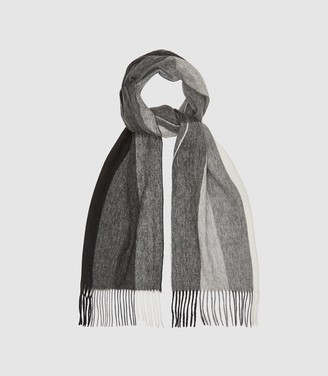 Reiss MEADS WOOL CASHMERE BLEND SCARF Soft Grey