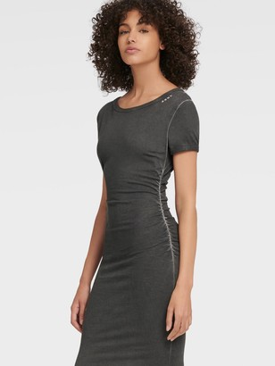 DKNY Ruched Boat-neck T-shirt Dress