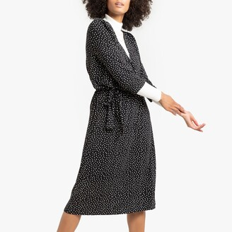 La Redoute Collections Polka Dot Wrapover Dress with Tie-Waist