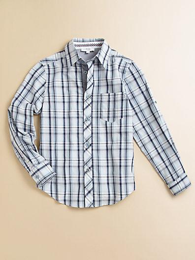 HUGO BOSS Little Boy's Plaid Poplin Shirt