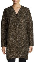 Lafayette 148 New York Lorraine Metallic Long Coat, Black Multi